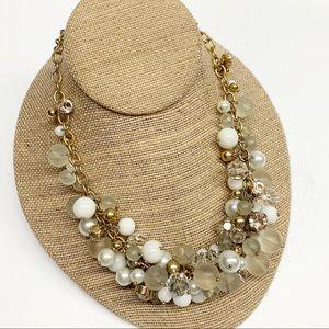 Banana Republic gold white bauble bead necklace